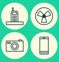Hardware icons set collection of telephone vector