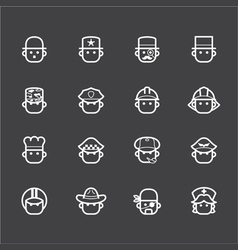 Occupation white icon set 1 on black background vector