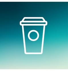 Disposable coffee cup thin line icon vector