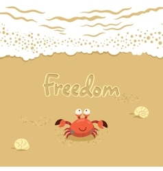 Cute of crab and lettering on vector