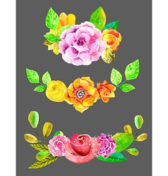 Watercolor flowers set vector image