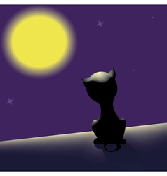 black cat on the roof looking at moon vector image