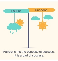 Sign showing directions to success and to failure vector