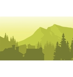 View house silhouette in the mountain vector