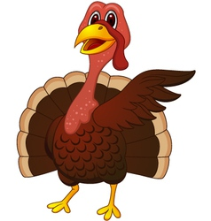 cute turkey cartoon vector image