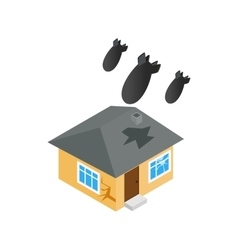 Bombing of house icon isometric 3d style vector