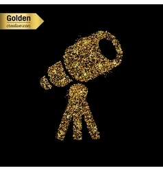 Gold glitter icon of telescope isolated on vector