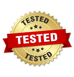 tested 3d gold badge with red ribbon vector image