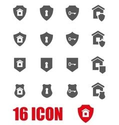 Grey home security icon set vector