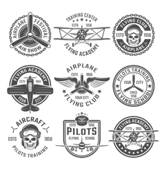 Airplane emblem set vector