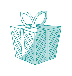 blue shading silhouette cartoon christmas giftbox vector image vector image