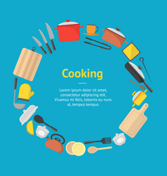 cartoon cookware banner card vector image vector image