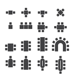 chair icon set vector image vector image