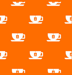 cup of tea with tea bag pattern seamless vector image vector image