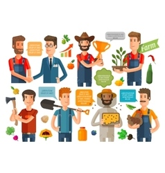 farmer horticulturist or farming icons set vector image vector image