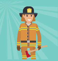 Firefighter in uniform with wooden axe vector