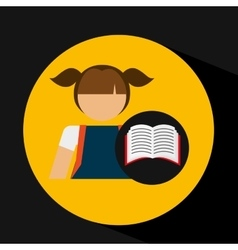 Girl uniform school open book icon vector