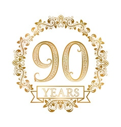 Golden emblem of ninetieth years anniversary in vector image vector image