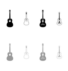 guitar black and grey set icon vector image