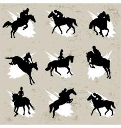 Horse with jockey vector