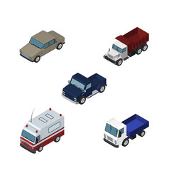 isometric automobile set of first-aid lorry auto vector image