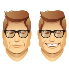 Male faces with glasses vector