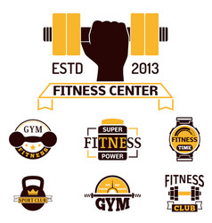 monochrome fitness emblem design element gym sport vector image