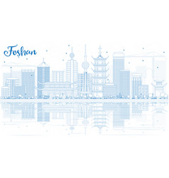 outline foshan skyline with blue buildings and vector image vector image