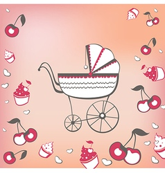 pram and cherry vector image vector image