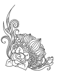 Sketch angle hand drawn decorative floral element vector