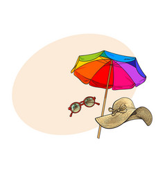 straw hat with wide flaps round sunglasses and vector image vector image