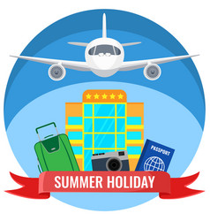 Summer holiday posters with travelling accessories vector