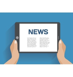 Tablet computer with news icon on the screen vector image vector image