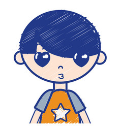 Tender boy child with pijama and hairstyle vector