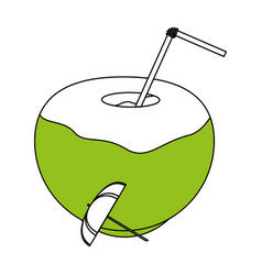 Tropical coconut cocktail with umbrella icon image vector