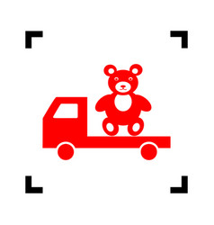 truck with bear red icon inside black vector image