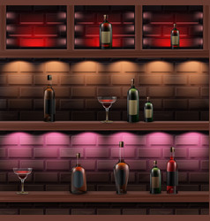 wooden shelves with alcohol vector image