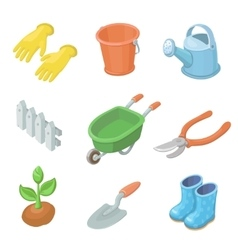 Gardening work tools icons set nice equipment for vector