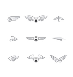 Set of different airplanelogos vector