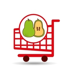 Pear shopping cart graphic vector