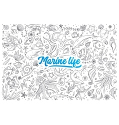 Marine life doodle set with lettering vector