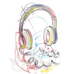 Abstract head phones vector