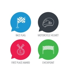 Race flag checkpoint and motorcycle helmet vector image