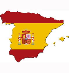 Map of Spain with national flag vector image