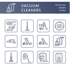 Vacuum cleaners flat line icons different vacuums vector