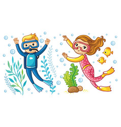 A boy and a girl swim under the water vector