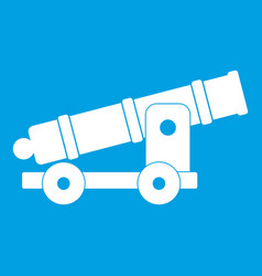 Cannon icon white vector