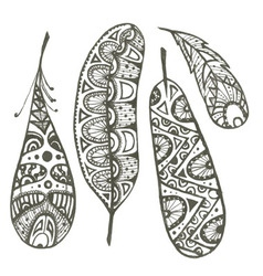 Set of sketch decorative feather vector