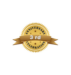 3rd anniversary years gold vector