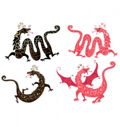 set of Chinese dragon vector image
